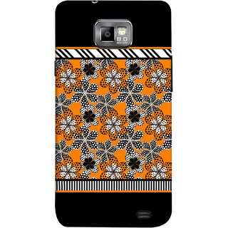 FUSON Designer Back Case Cover for Samsung Galaxy S2 I9100 :: Samsung I9100 Galaxy S Ii (White Gray Yellow White Black Flowers Unstitched)