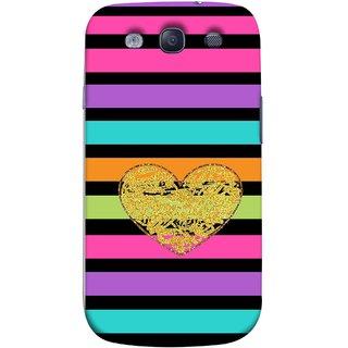 FUSON Designer Back Case Cover for Samsung Galaxy S3 I9300 :: Samsung I9305 Galaxy S Iii :: Samsung Galaxy S Iii Lte (Sprinkle Gold Glitter Heart Flag Hearts Valentine)