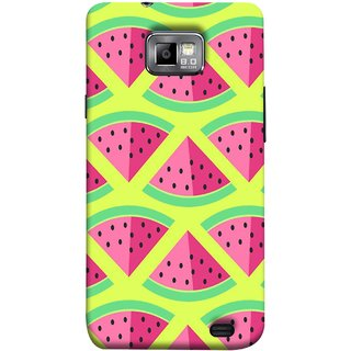 FUSON Designer Back Case Cover for Samsung Galaxy S2 I9100 :: Samsung I9100 Galaxy S Ii (Watermelon Slice Pattern Of Ripe Handdrawing )