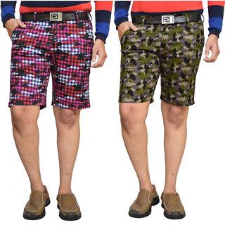 American Noti Black Stretchable Cotton Lycra Slim Fit Men's Checked Shorts(Bermuda)/3/4 th