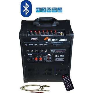 MEDHA Portable Rechargeable PA Amplifier Cube-40MDX with Speaker  USB Player