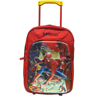 BATU LEE 18 inch Red SPIDERMAN Waterproof Trolley Hybrid Children's Backpack