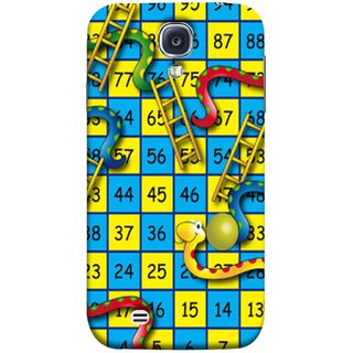 FUSON Designer Back Case Cover for Samsung Galaxy S4 I9500 :: Samsung I9500 Galaxy S4 :: Samsung I9505 Galaxy S4 :: Samsung Galaxy S4 Value Edition I9515 I9505G (Dice Pair Nice Game India Blue Children Squares Girls )