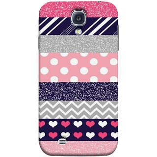 FUSON Designer Back Case Cover for Samsung Galaxy S4 I9500 :: Samsung I9500 Galaxy S4 :: Samsung I9505 Galaxy S4 :: Samsung Galaxy S4 Value Edition I9515 I9505G (Colourful Patterns Hearts Lines Checks Dark Red )