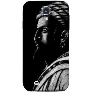 FUSON Designer Back Case Cover for Samsung Galaxy S4 I9500 :: Samsung I9500 Galaxy S4 :: Samsung I9505 Galaxy S4 :: Samsung Galaxy S4 Value Edition I9515 I9505G (Chatrapati Shivaji Maharaj Sideview Jiretop With Beard)