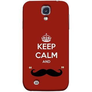 FUSON Designer Back Case Cover for Samsung Galaxy S4 I9500 :: Samsung I9500 Galaxy S4 :: Samsung I9505 Galaxy S4 :: Samsung Galaxy S4 Value Edition I9515 I9505G (Beautiful Mustache Always Stay Silent Work Resolve)