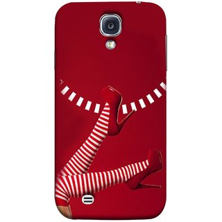 FUSON Designer Back Case Cover for Samsung Galaxy S4 I9500 :: Samsung I9500 Galaxy S4 :: Samsung I9505 Galaxy S4 :: Samsung Galaxy S4 Value Edition I9515 I9505G (High Heel Red And White Socks Beautiful Legs Girl)