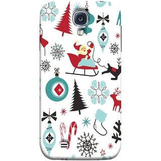FUSON Designer Back Case Cover for Samsung Galaxy S4 Mini I9195I :: Samsung I9190 Galaxy S4 Mini :: Samsung I9190 Galaxy S Iv Mini :: Samsung I9190 Galaxy S4 Mini Duos :: Samsung Galaxy S4 Mini Plus (Santaclaus New Year Igloo Snowflakes Candy Cane )
