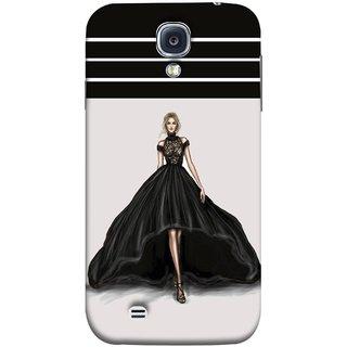FUSON Designer Back Case Cover for Samsung Galaxy S4 I9500 :: Samsung I9500 Galaxy S4 :: Samsung I9505 Galaxy S4 :: Samsung Galaxy S4 Value Edition I9515 I9505G (On Stage High Heel Cat Walk Black Dress )