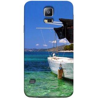 FUSON Designer Back Case Cover for Samsung Galaxy S5 :: Samsung Galaxy S5 G900I :: Samsung Galaxy S5 G900A G900F G900I G900M G900T G900W8 G900K (Boat Floating In The Clear Water Island Enjoy Holidays)