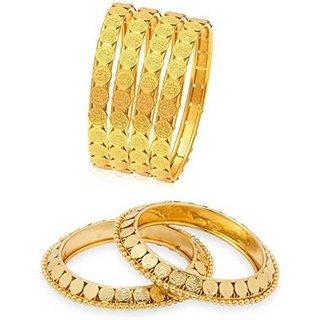 Jewels Kafe Designer Golden Bangles Combo Set of 6