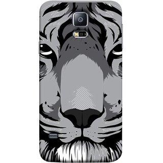 FUSON Designer Back Case Cover for Samsung Galaxy S5 :: Samsung Galaxy S5 G900I :: Samsung Galaxy S5 G900A G900F G900I G900M G900T G900W8 G900K (Grey Tiger Looking Into Eyes Whiskers Chitta)