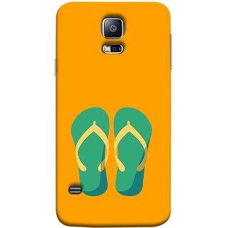 FUSON Designer Back Case Cover for Samsung Galaxy S5 Mini :: Samsung Galaxy S5 Mini Duos :: Samsung Galaxy S5 Mini Duos G80 0H/Ds :: Samsung Galaxy S5 Mini G800F G800A G800Hq G800H G800M G800R4 G800Y (Green Chapplas With Yellow Belts On Orange Back)