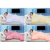 Combo Pack - 4 Cotton Top Sheet Cum Bed Sheet With Boarder Design