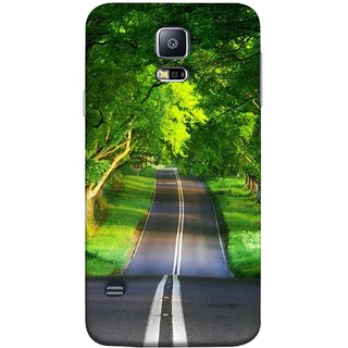 FUSON Designer Back Case Cover for Samsung Galaxy S5 Mini :: Samsung Galaxy S5 Mini Duos :: Samsung Galaxy S5 Mini Duos G80 0H/Ds :: Samsung Galaxy S5 Mini G800F G800A G800Hq G800H G800M G800R4 G800Y (Road Surrounded By Mountains Beautiful Old Trees )