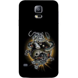 FUSON Designer Back Case Cover for Samsung Galaxy S5 Neo :: Samsung Galaxy S5 Neo G903F :: Samsung Galaxy S5 Neo G903W (Beautiful Graffiti Lion Tiger Wallpaper Chinese )