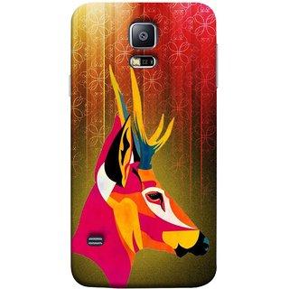 FUSON Designer Back Case Cover for Samsung Galaxy S5 Mini :: Samsung Galaxy S5 Mini Duos :: Samsung Galaxy S5 Mini Duos G80 0H/Ds :: Samsung Galaxy S5 Mini G800F G800A G800Hq G800H G800M G800R4 G800Y (Christmas Deer Origami Merry Abstract Reindeer)