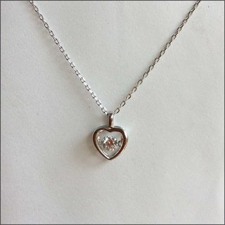 925 Sterling Silver Dancing Diamond Pendant with Chain