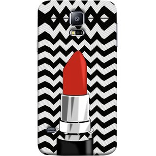 FUSON Designer Back Case Cover for Samsung Galaxy S5 Neo :: Samsung Galaxy S5 Neo G903F :: Samsung Galaxy S5 Neo G903W (Red Lipstick Lips Shade Wave Patterns Black)