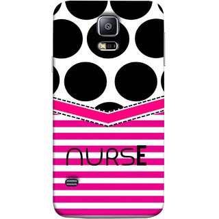 FUSON Designer Back Case Cover for Samsung Galaxy S5 Neo :: Samsung Galaxy S5 Neo G903F :: Samsung Galaxy S5 Neo G903W (Pink Design Paper Big Black Circles Bubbles Nurse Doctor)