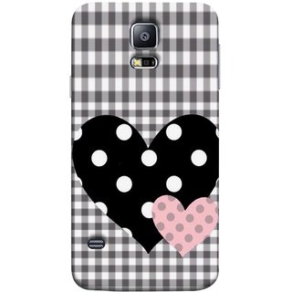 FUSON Designer Back Case Cover for Samsung Galaxy S5 Neo :: Samsung Galaxy S5 Neo G903F :: Samsung Galaxy S5 Neo G903W (Two Hearts Towels Pink Love Lovers Small Checks )