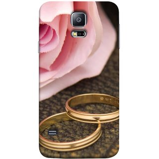 FUSON Designer Back Case Cover for Samsung Galaxy S5 Neo :: Samsung Galaxy S5 Neo G903F :: Samsung Galaxy S5 Neo G903W (Golden Rings On Pink Rose Petal With Pink Rose Flower )