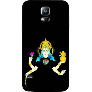 FUSON Designer Back Case Cover for Samsung Galaxy S5 Neo :: Samsung Galaxy S5 Neo G903F :: Samsung Galaxy S5 Neo G903W (Laxmi Kamal Lotus Gold Crown Mukut Kalash)