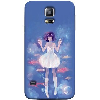 FUSON Designer Back Case Cover for Samsung Galaxy S5 Neo :: Samsung Galaxy S5 Neo G903F :: Samsung Galaxy S5 Neo G903W (Blue Water Fish Big Bubbles Shells Doll Dress )