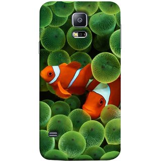 FUSON Designer Back Case Cover for Samsung Galaxy S5 Neo :: Samsung Galaxy S5 Neo G903F :: Samsung Galaxy S5 Neo G903W (White Orange Two Fish Water Salt Best Wallpapers Sea)