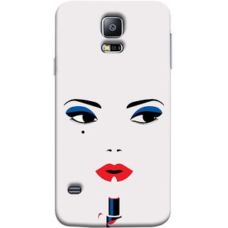 FUSON Designer Back Case Cover for Samsung Galaxy S5 Neo :: Samsung Galaxy S5 Neo G903F :: Samsung Galaxy S5 Neo G903W (Pink Lips Blue Black Eyes Red Nailpolish)