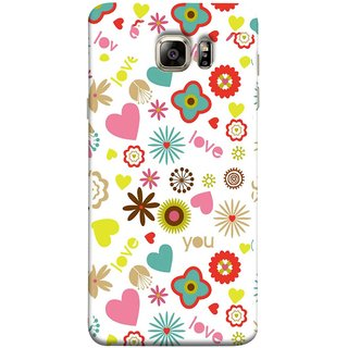 FUSON Designer Back Case Cover for Samsung Galaxy S6 G920I :: Samsung Galaxy S6 G9200 G9208 G9208/Ss G9209 G920A G920F G920Fd G920S G920T (Love You Pink Yellow Hearts Snow Red Flowers Garden )