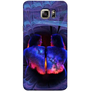 FUSON Designer Back Case Cover for Samsung Galaxy S6 Edge :: Samsung Galaxy S6 Edge G925 :: Samsung Galaxy S6 Edge G925I G9250  G925A G925F G925Fq G925K G925L  G925S G925T (Young Beautiful Woman Smiling To Herself In Mirror)