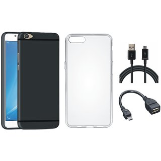Oppo F1s Soft Silicon Slim Fit Back Cover with Silicon Back Cover, OTG Cable and USB Cable