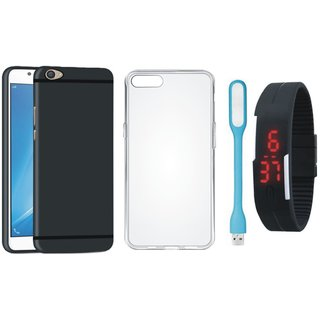 Oppo F1s Soft Silicon Slim Fit Back Cover with Silicon Back Cover, Digital Watch and USB LED Light