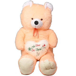 bef8dd8e1263e Buy stuffed toy 4.5 feet with heart soft and cute teddy bear cream ...