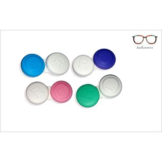 FasHion eye mini contact lens case Plastic travEl case holder storage box for contact Lens Case Pack of 2 colored lens
