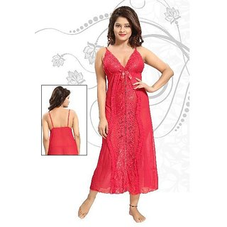 3f429be2ce Buy Womens satin lace nightdress nighty bridal honeymoon babydoll Online -  Get 20% Off
