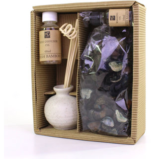 Hosley Fresh Bamboo Ceramic Reed Diffuser with Oil  Potpourri