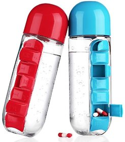 Pill Box Organizer With Water Bottle,With Drinking Bottle-Multicolor