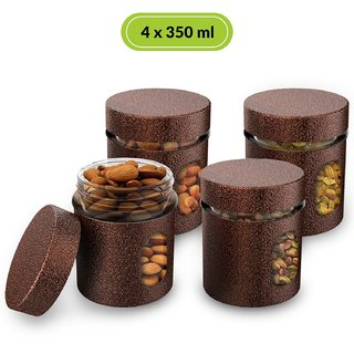 HomePuff Premium Airtight Glass Canisters in Metal Overlay (350 ml X 4) -Copper
