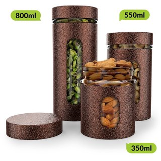 HomePuff Premium Airtight Glass Canisters in Metal Overlay (350 ml, 550ml, 800ml) - Copper
