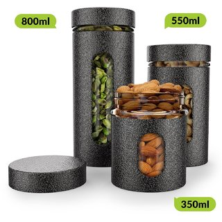 HomePuff Premium Airtight Glass Canisters in Metal Overlay (350 ml, 550ml, 800ml) - Silver