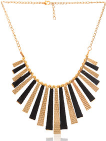 Minha Gold Plated Gold  Black Alloy Necklace Set For Women