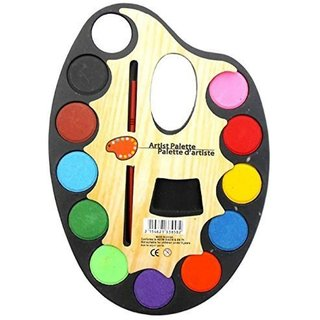 12 color artist palette with brush