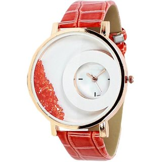 MxRe Red RoundDial Analog Watch For Girls,Women By MORLI