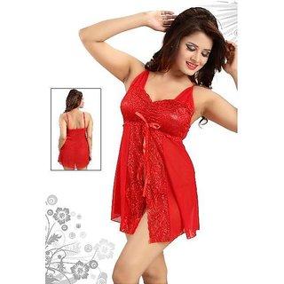 Florona Red Sexy Women's Longerie Nightgown Night Sleepwear Babydoll Mini Dress