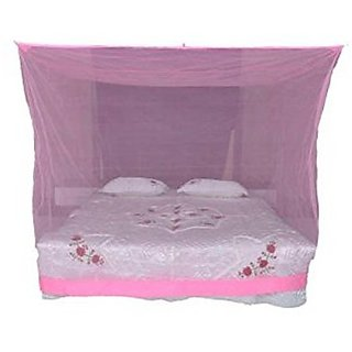 Shahji Creation Polyester King Size Bed Pink HDPE 6X7 Feet Mosquito Net