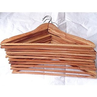Shahji Creation Pack of 12 Wooden Cloth Hangers