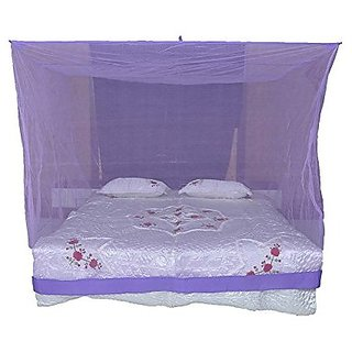 Shahji Creation Polyester King Size Bed HDPE Mosquito Net Purple (6X7 Feet)