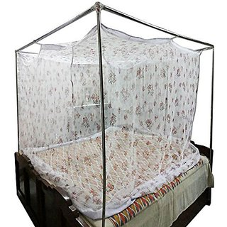 Shahji Creation Cotton Printed King Size Bed MultiColor 6X7 Feet Mosquito Net